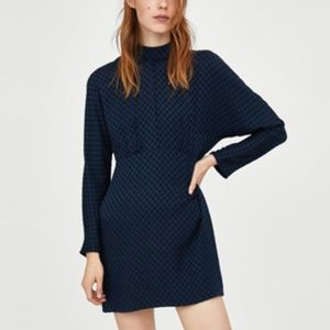 Zara Trafuluc Navy & Black Polka Dot Dress